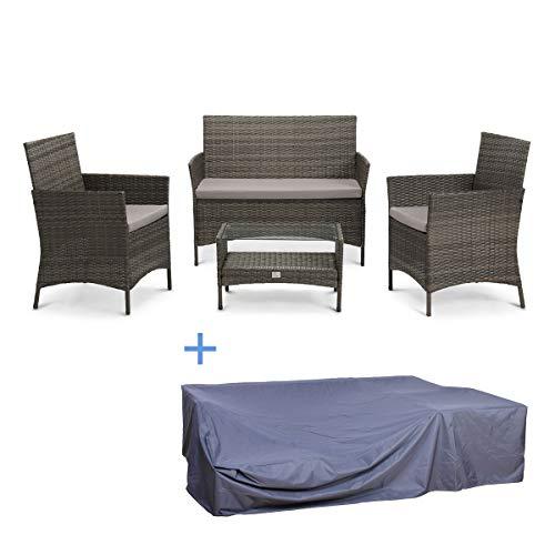 Svita Brooklyn - Juego de muebles de jardín (polirratán, lona protectora), color gris