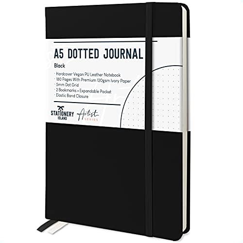 Stationery Island Cuaderno Punteado A5 – Negro. Bullet Journal de Tapa Dura Con 180 Páginas y Papel Premium de 120gsm. Para Notas, Planificación, Estudio, Viajes, Diario y Proyectos