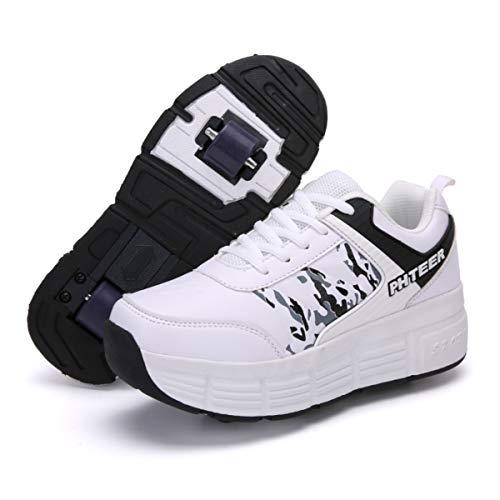 LHZTZKA Zapatos con Ruedas Unisex Luz Automática de Skate Zapatillas con Ruedas Zapatos Patines Deportes Zapatos para Niños Niñas