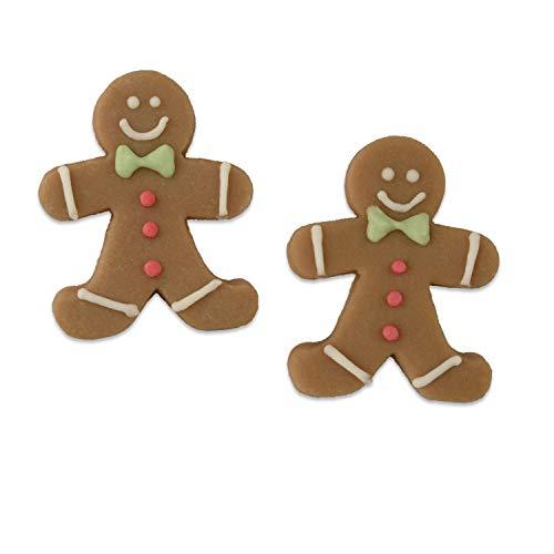 36 Marzipan Lebkuchenmännchen | geeignet zum Dekorieren von Süßspeisen | mit roten Knöpfen und grünen Fliegen | passend zur Weihnachtszeit