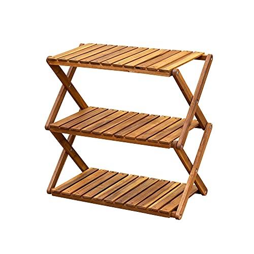 アカシア製 折りたたみラック 3段 ワイド 木製 幅60cm アウトドア キャンプ 棚 収納 完成品 UNL-26BR