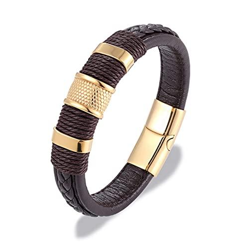 Q4S Pulsera De Cuero De Cuerda Trenzada De Color Marrón Negro, Pulsera De Abalorio De Cuerda De Acero Inoxidable, Joyería De Lujo para Hombres Y Mujeres,O