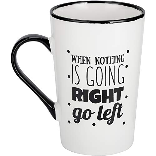 Urbanstrive 16 oz Large Coffee Mug with Handle Big Dreamer When Nothing Is Going RIGHT Go Left Tea Cup Novelty Coffee Cup Idea Gift for Men Women Office Work, White