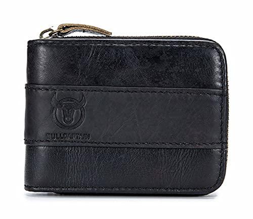 Cartera Hombre Piel de Vacuno de Cuero Genuino Vintage Multi-Kartenhalter-Geldbörse mit Reißverschluss und Ausweisfenster (Black)