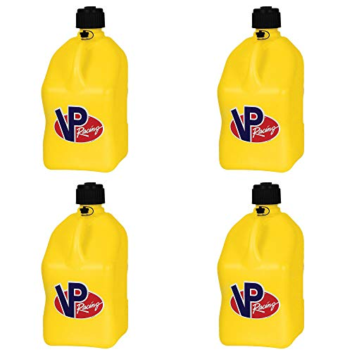 VP Racing Fuels Motorsport 5 Gallon Square Plastic Utility Jug Yellow (4 Pack)