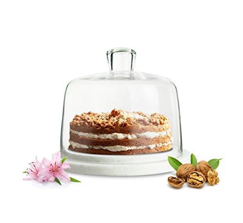 Sendez® Cloche en Verre sur Plaque de marbre Cloche à gâteau Cloche à Fromage Plateau à gâteau Couvercle 4 kg