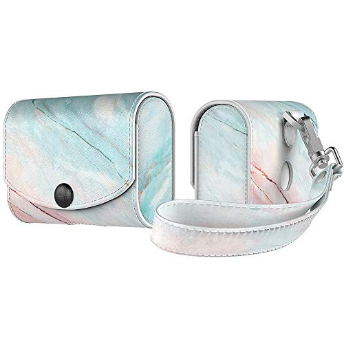 MoKo Case Fit AirPods Pro 2019, Magnetic Snap Closure PU Leather Fashion Protective Cover Carrying Pouch Pocket With Holding Strap for Airpods Pro Wireless Headset Charging Box - Marble Powder Blue