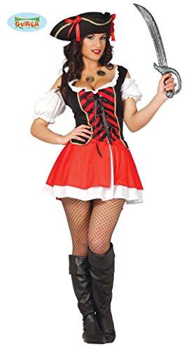 Fiestas Guirca- Costume Piratessa Corsara, Colore Nero, Rosso, Bianco, M, 80808