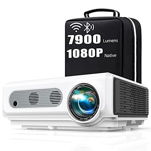 Proyector WiFi Bluetooth Full HD 1080P, TOPTRO 7900 Lúmenes Proyector 1080P Soporta 4K y Función de Zoom, Pantalla 300
