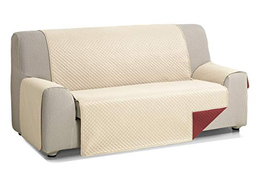 Martina Home Diamond Cubre Sofa Acolchado Reversible, Beige - Rojo, 3 Plazas