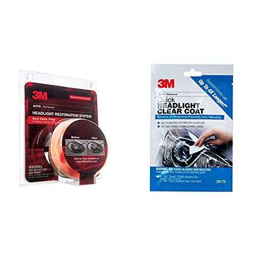 3M 39008 Heavy Duty Kit Headlight Lens Restoration System + 39173 Quick Headlight Clear Coat