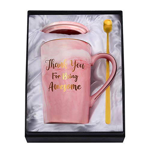 Youerls Thank You Mug - Thank You Gifts and Appreciation Gifts for Women - Thank You for Being Awesome - Birthday Christmas Mug Gifts for Her, Friends, Mom, Sister, Pink Marble Ceramic Coffee Cup 14oz