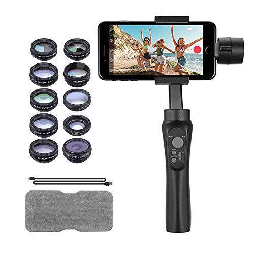 Gimbal para Teléfono De 3 Ejes con 10 Filtros De Lente De Teléfono Estabilizadores De Mano Vlog Smartphone para iPhone Huawei Samsung