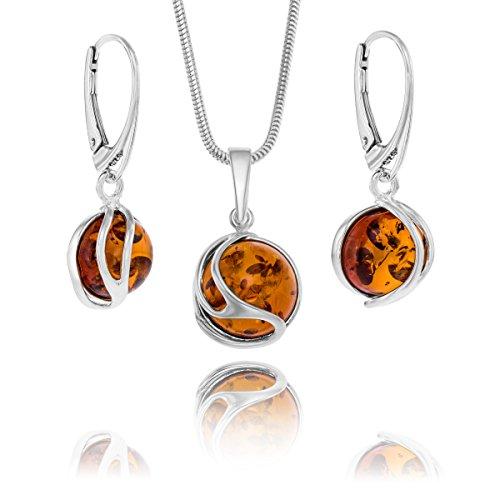 Copal Conjunto de joyas con Ámbar, plata de ley 925, colgante Bola, con caja de joyas, idea regalo