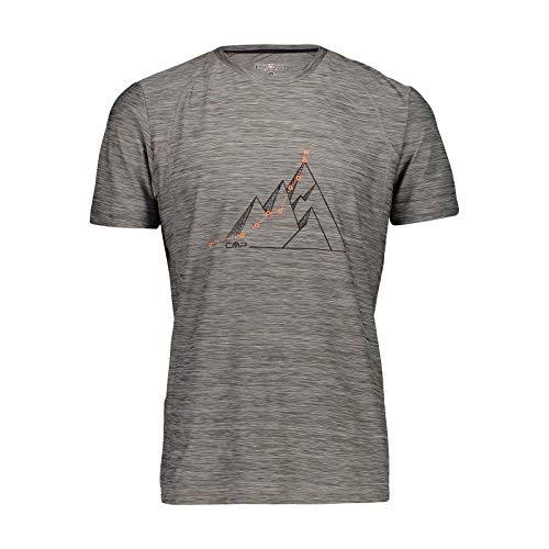 CMP – F.lli Campagnolo Herren Elastisches Melange T-Shirt mit Sonnenschutz UPF 40, Grigio M.-Antracite, 54, 39T6547