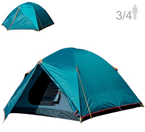 NTK Colorado GT 3 to 4 Person Outdoor Dome Family Camping Tent 100% Waterproof 2500mm, Easy Assembly, Durable Fabric Full Coverage Rainfly - Micro Mosquito Mesh, Size 6.7' x 11.5' x 4.4'