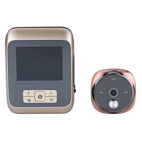 YQQQQ Timbre con Video 3 〞LCD 120° Timbre de La Cámara de Vídeo del Visor del Ojo de La Puerta de La Mirilla de WiFi del Timbre Elegante de Digitaces (Color : Gold)