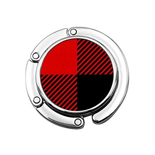 Red Black Buffalo Plaid Red Buffalo Plaid Pattern Foldable Purse Hook Handbag Hangers Decor Table Hook