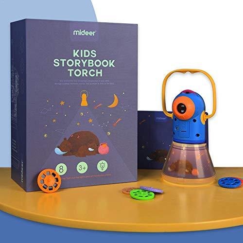 Funnyfeng projector, voor kinderen, Story Book Torch nachtlampje, multifunctioneel, 3 in 1, nachtprojector, voor kinderen, 8 sprookjes, bijpassende films