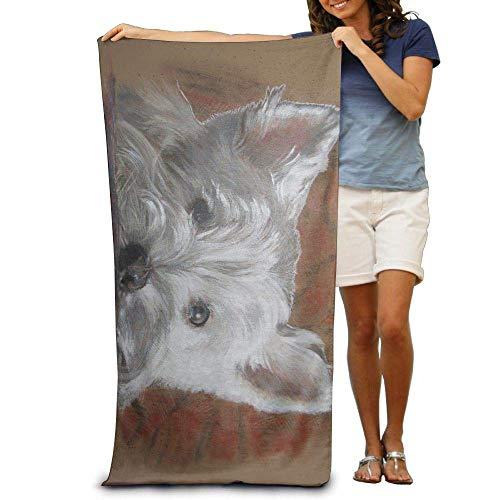 FERNMXZ Strandtücher mit Malteser-Welpen-Motiv, 100 % Polyester, Reisebadetuch, großes Handtuch für Stranddecke, Abdeckung, Zelt, Boden, Yogamatte, 80 x 130 cm, natürlich, weich, schnell trocknend