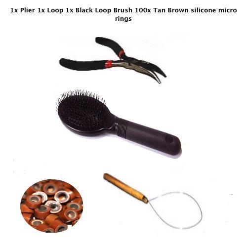 Kit plume Boucle Extension Cheveux 1 x Pince 1 x Aiguille 1 x noir boucle 1 x Brosse 1 x Marron clair en silicone anneaux mm.