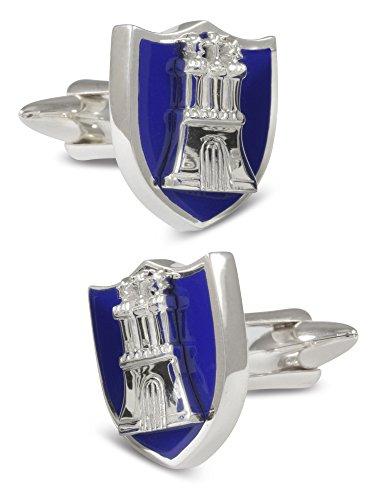 ZAUNICK Hamburg Manschettenknöpfe Silber 925 handgefertigt, blau