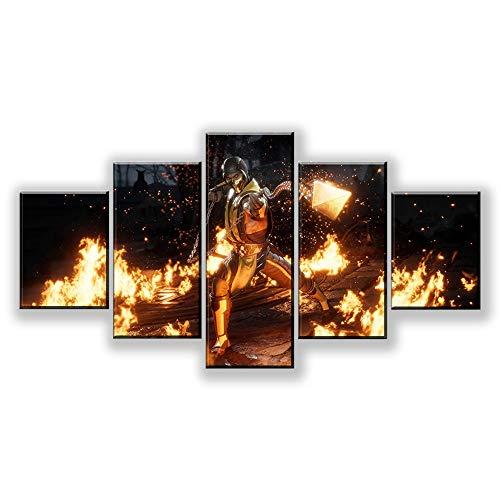 VVGGLL 5 Leinwanddrucke Moderne Große Wand Leinwand Mutig Feuerwehr Silhouette Gedruckt Wohnkultur Leinwand Malerei Wandkunst Bild Drucke Auf Leinwand