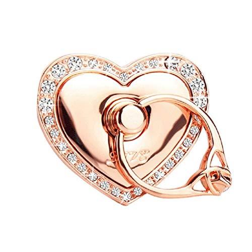 Universal Phone Ring Bracket Holder,UCLL Love Heart Diamond Shape Finger Grip Stand Holder Ring Car Mount Phone Ring Grip Smartphone Ring Stent Tablet Rose Gold