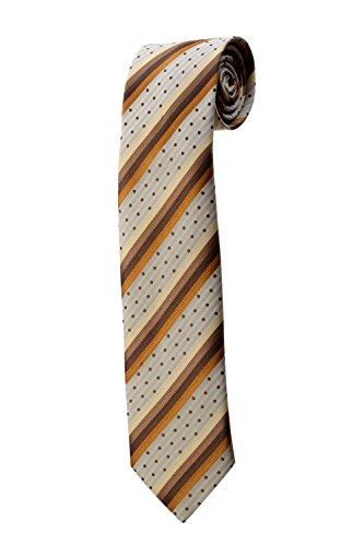 Cravate à rayures beiges, marrons et pois DESIGN costume homme mariage