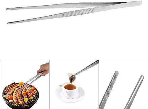 Kitchen and doctor Longs - Outil de cuisine de jardin 30cm Acier inoxydable Argent Pince à nourriture longue Droite Home Doctor Brucelles