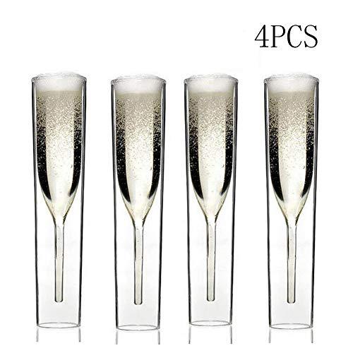 Noble Champagnerflöten - Doppelglas Kristall Champagnerglas-Set, Kelch funkelndes Glas Tulpenglas, bestes Geschenk-4PCS