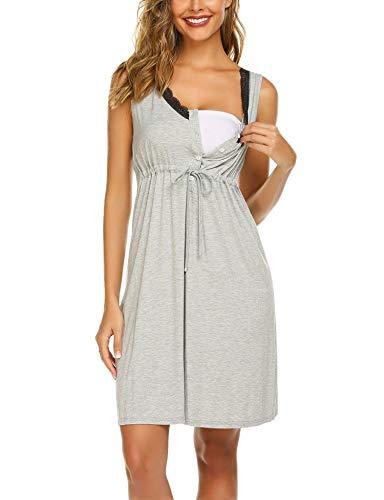 Unibelle Stillkleid Damen Stillnachthemd Sleepshirt Umstandsmode Nachthemd
