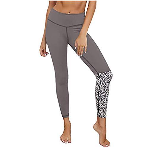 SIOPEW Leggings Damen NäHen Leopardenmuster Workout Sports Yoga Hosen Mit Hoher Taille Laufhose