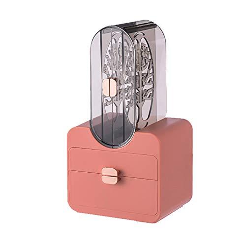 lefeindgdi Caja de almacenamiento de joyas, estuche de almacenamiento de joyas, estilo retro, multifuncional, de gran capacidad, pendientes, caja de almacenamiento portátil para mujeres y niñas
