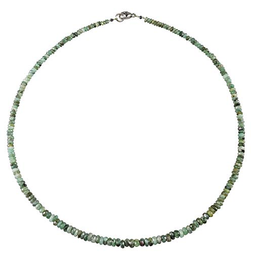 Funk-Collier Edelsteinschmuck Smaragd fac, Silber Schloß, ca. 46 cm, ca. 52.5 Karat, Farbverlauf