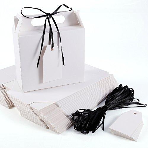 Caja Bolsa de Papel Kraft con Etiqueta Cinta para Dulces Regalos Recuerdo Detalle para Boda (blanco)
