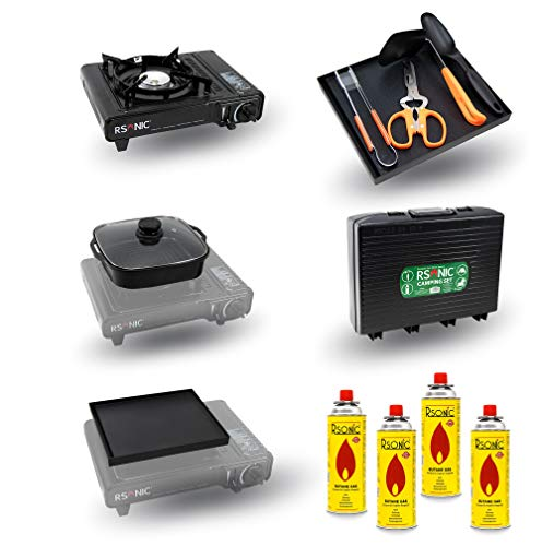 RSonic MEGA KIT | tragbarer Campingkocher Gaskocher Set | BBQ Grillpfanne + Kochtopf + Kelle + Schere + Grillzange + Pfannenwender + Transportkoffer (Mega Kit + 4X Gaskartusche)