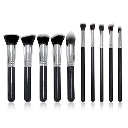 Eyeshadow Brushes Ensemble de pinceaux de maquillage, 10 pièces Poignée en plastique Kabuki Foundation Brush Fard à paupières Brosse de maquillage Outil Gold Fibre synthétique universelle