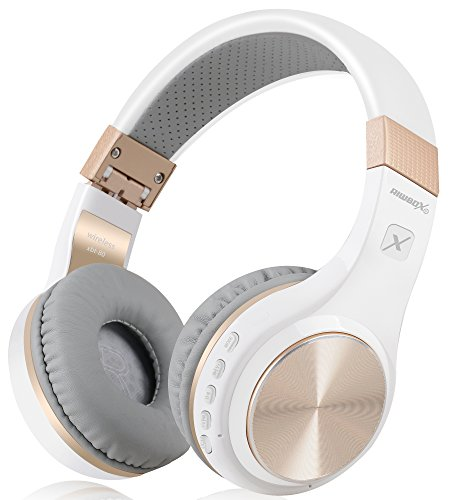 Bluetooth Headphones, Riwbox XBT-80 Folding Stereo Wireless Bluetooth Headphones Over Ear with Microphone and Volume Control, Wireless and Wired Headset for PC/Cell Phones/TV/ipad (White Gold)