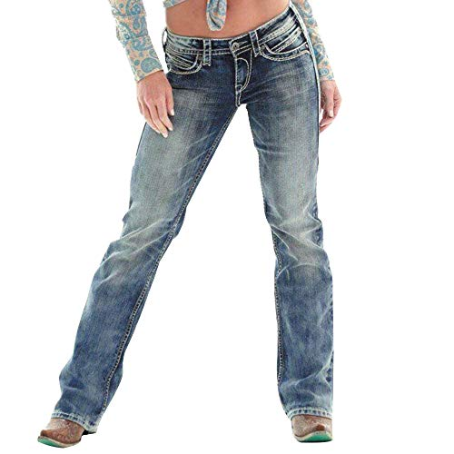 Women's Classic Low Rise Bootcut Jeans Stylish Straight Legs Stretch Denim Jeans Casual Retro Stretch Slim Fit Washed Jeans Pants with Pockets, Blue, S(Fits Like USA XS)
