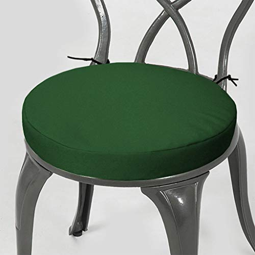 Gardenista Garden Round Bistro Patio Chair Seat Pad | Cushion Seating Furniture Outdoor | Secure Tie Strings for None Slip | Water Resistant | Comfortable Durable and Lightweight (15' (38cm), Green)