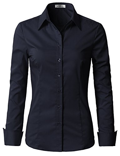Doublju Womens Slim Fit Classic Solid Long Sleeve Button Down Blouse Dress Shirt Navy Medium