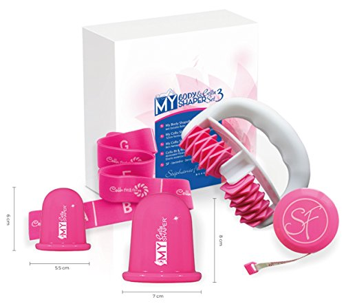 Stephanie Franck Beauty Kit3 AntiCellulite - Roller Minceur, Ventouses S+L et Bande Elastique (Pink)