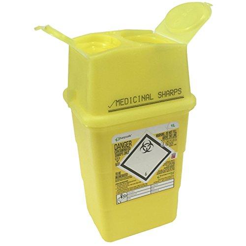Sharpsafe-Behälter für medizinische Abfälle, gelb, 1l, für Spritzen, Nadeln, klinische Abfälle, gekennzeichnet, Müll-Box für scharfe und spitze Gegenstände, Mülleimer
