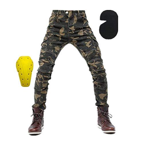 TIUTIU heren motorfiets rijjeans broek, motocross racebroek met 4 afneembare beschermkussens die in elk seizoen kunnen worden gedragen. 3XL camouflage