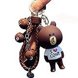 1 Pcs Cute Kawaii Cartoon Love T-shirt Brown Bear Keychain Bear Head Bell Wrist Rope Key Chains Novelty Toy Gift Fashion Ornaments Coin Purse Korea Cony Bunny Keyring Bag Buckle Phone Pendant