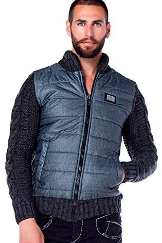 Cipo & Baxx Herren Strickjacke Stepp Jacke Übergangsjacke Pullover Sweater Sweatjacke Materialmix Anthracite XXL