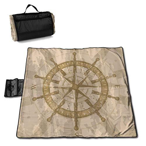 LUCKCHN - Tappetino da picnic vintage con bussola e rose del vento, coperta da spiaggia, grande coperta da picnic, pieghevole, impermeabile, 144,8 x 149,9 cm