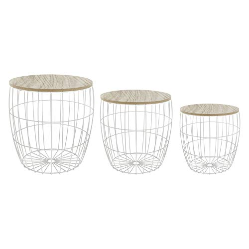 Atmosphera Lot de 3 Tables Basses gigognes + coffres de Rangement - Style scandinave - Coloris Blanc