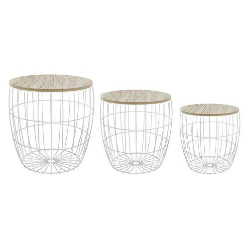 Lote de 3 mesas Bajas Nido + cofres de almacenaje – Estilo escandinavo – Color Blanco